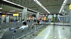 Passengers at Guarulhos Airport in Sao Paulo, Brazil - stock footage