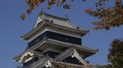 Matsumoto Castle Tower Close Up in Nagano Prefecture, Japan Stock Footage