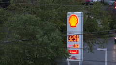 Fuel price sign at shell gas station, usa Stock Footage