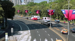 Taiwan Flag in the wind Looking at traffic-Dan Stock Footage