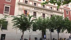 Spanish bank facade in Alicante Stock Footage