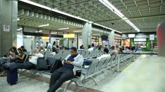 Passengers at Guarulhos Airport in Sao Paulo, Brazil. - stock footage