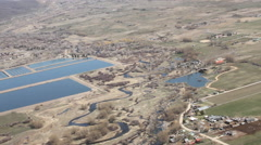 Aerial of Rural City and River Stock Footage