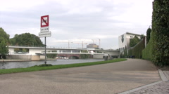 Pathway next to river Spree in Central Berlin Stock Footage