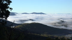 View of low cloud in valley from blue ridge parkway, nc Stock Footage