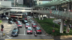 Busy street traffic Hong Kong China, people wallking, red Taxi and bus-Dan Stock Footage