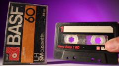 Audio Music Cassette Tape. Stop motion. Music. Stock Footage