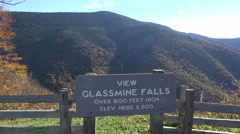 Glassmine falls outlook, blue ridge parkway road in the fall, nc Stock Footage