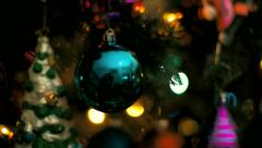 Christmas Tree fly into reflection on ornaments Stock Footage