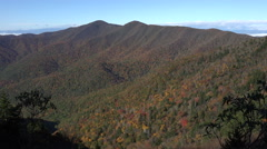 View of fall trees on mountains from blue ridge parkway, nc Stock Footage