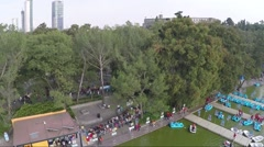 Aerial view of Mexico City and Lago of Chapultepec. Stock Footage