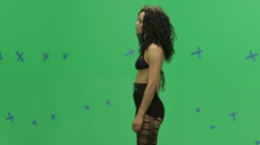 Beautiful Woman on Green Screen Performs Dance Routine Stock Footage