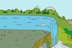 rapids and waterfall background - stock illustration