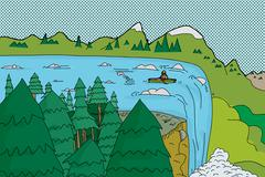 Stock Illustration of canoe near edge of waterfall