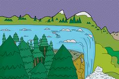 Beautiful waterfall Stock Illustration