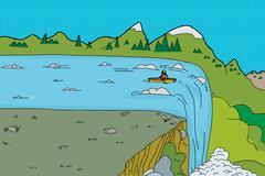 man in kayak at waterfall - stock illustration