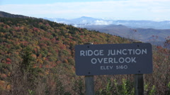 ridge junction overlook, blue ridge parkway road in the fall, nc - stock footage