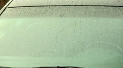 Car window windscreen in rain Stock Footage