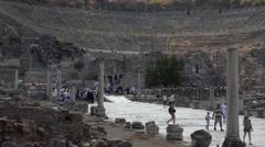 Ephesus Turkey ancient theater ruins tourists 4K 036 Stock Footage
