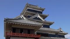 Matsumoto Castle Moon Viewing Room Exterior Stock Footage