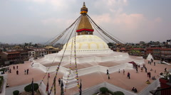 General View of Boudhanath Stupa in Kathmandu, Nepal Stock Footage