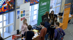Young people on a job fair Stock Footage