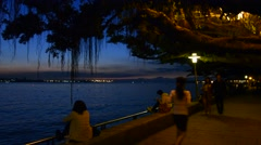Night scene of famous tamsui old street Stock Footage