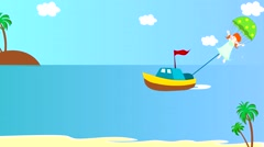The boat pulls girl on a parachute over the sea, animation, cartoon - stock footage