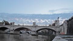 Timelapse Ponte-Vittorio-Emanuele-II bridge rome Stock Footage