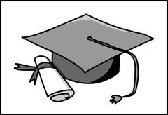 University degree - bachelor's hat and roll  - symbol, icon Stock Illustration