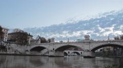 Timelapse Ponte-Vittorio-Emanuele-II bridge rome clouds Stock Footage