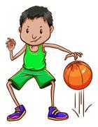 A boy wearing a green uniform Stock Illustration
