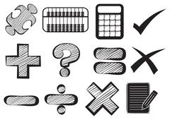 Doodle design of the different math operations - stock illustration