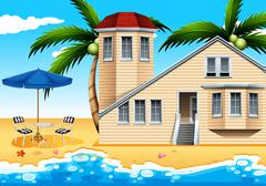 A vacation house at the beach Stock Illustration