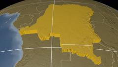Congo Kinshasa extruded. Bumps. Graticule. Stock Footage
