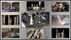 Milling machine collage on steel texture Stock Footage