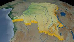 Congo Kinshasa extruded. Bumps shaded. Stock Footage