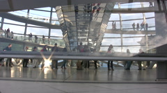 View looking into the Reichstag dome from ground level Stock Footage