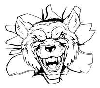 Wolf mascot breakthrough Stock Illustration