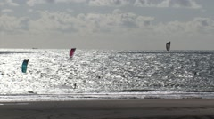 Kitesurfers at Dutch North Sea coast, Maasvlakte, Rotterdam Stock Footage