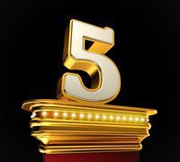 Number five on golden platform Stock Illustration