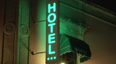 Hotel sign at night, european. Sicily, Italy. 00227 Stock Footage