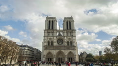 Time-lapse in 4K Uhd of the great Notre Dame cathedral in Paris, France. Stock Footage
