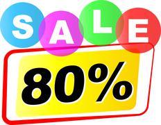 eighty percent sale icon - stock illustration