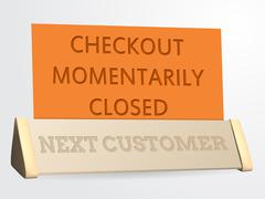 Next customer / checkout closed sign Stock Illustration