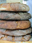 Large loaves of genuine apulian bread for sale in italian bakery Stock Photos