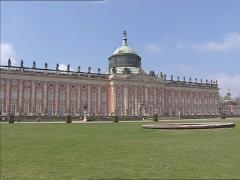 SANSSOUCI ROYAL PARK, POTSDAM - pan + establishing shot Neues Palais, New Palace Stock Footage