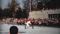 Figure Skating Vaudeville Act Outdoors-1962 Vintage 8mm film Stock Footage