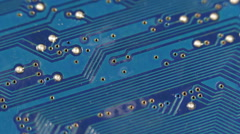 Blue Background Print Texture Scheme Electronic Board Connectivity Line Circuits Stock Footage