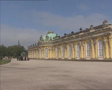 Establishing shot garden facade + pan rococo summer residence Sanssouci Palace Stock Footage